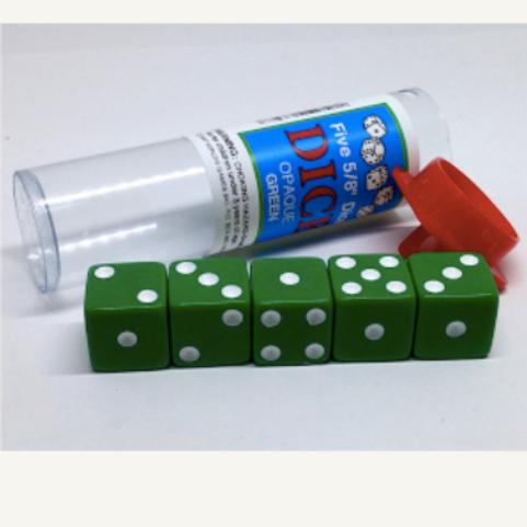 Tube de 5 D6 16mm opaques - Vert