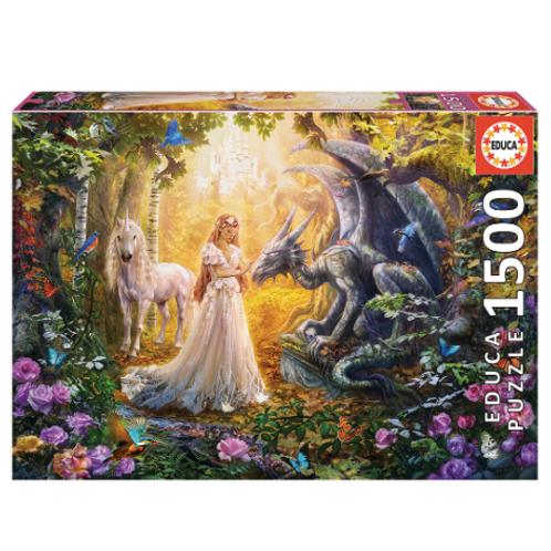 1500 pcs - Educa - Dragon, princesse et licorne