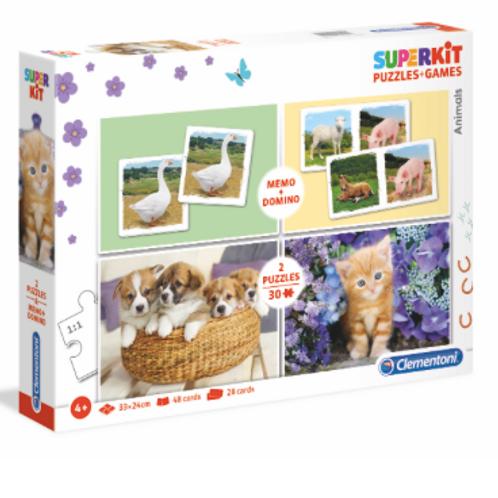 Clementoni - Superkit 4 en 1 - Les animaux -30pcs-memo-domino