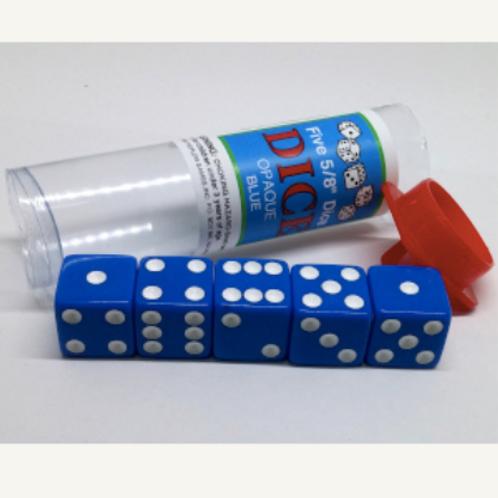 Tube de 5 D6 16mm opaques - Bleu