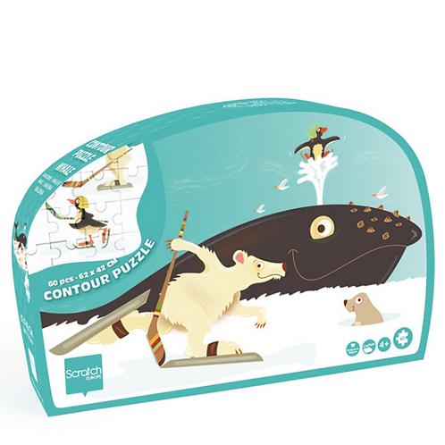 Scratch - Casse-tête contour Baleine 60 pièces