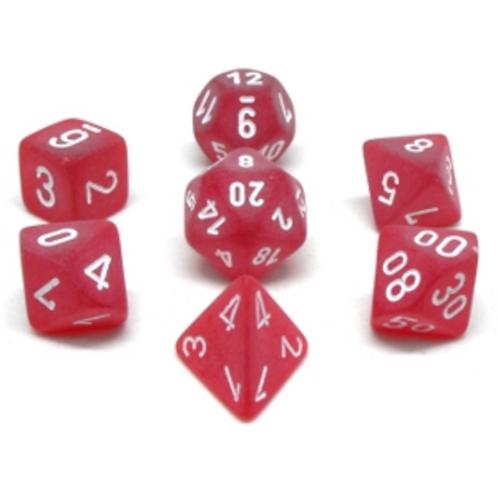 Ensemble de 7 dés polyédriques Givrés rouge avec chiffres blancs