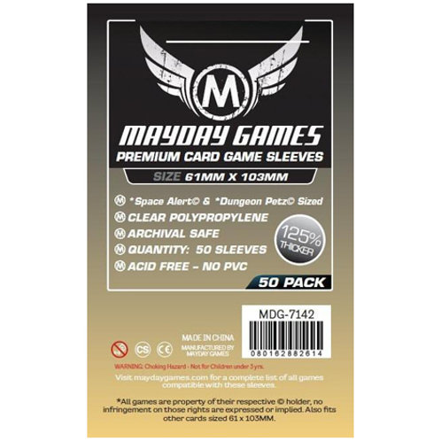 """Sleeves - 61 x 103 - Mayday Games - """"Space Alert"""" Compatible Premium (50)"""