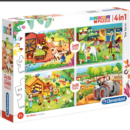 2x20 + 2x60 pcs - 4 Puzzles Progressifs de la ferme