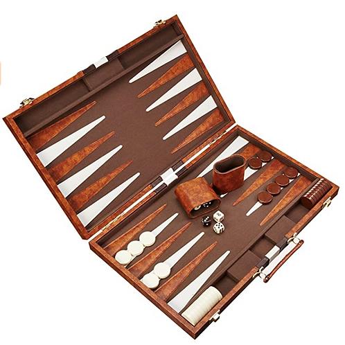 CHH - Jeu de backgammon de 18'' Mallette en cuir brun