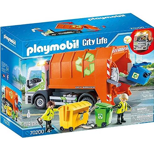 PLAYMOBIL - City Life - Camion de recyclage des ordures