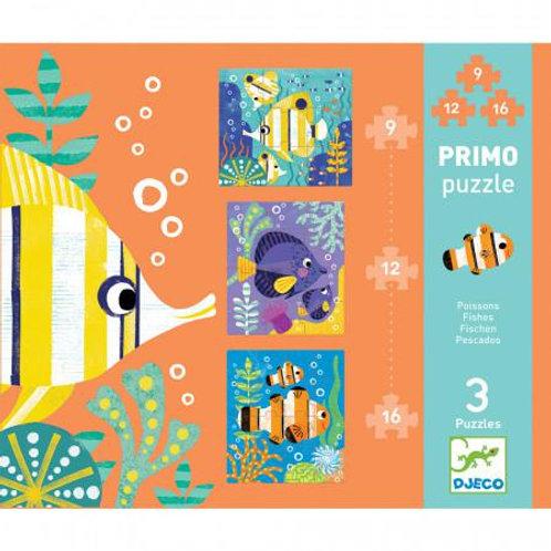 Djeco - Primo Puzzle : Poisson 9, 12, 16 pcs