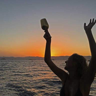 Sonnenuntergang Blick auf den Ibiza Boat Club