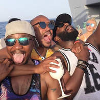 Guys having fun on the boat party in VIP