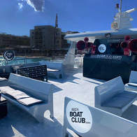 VIP areas and DJ booth of the Ibiza Boat Club