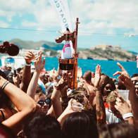 Moet Bottle at Cirque de la Nuit Ibiza Boat Party