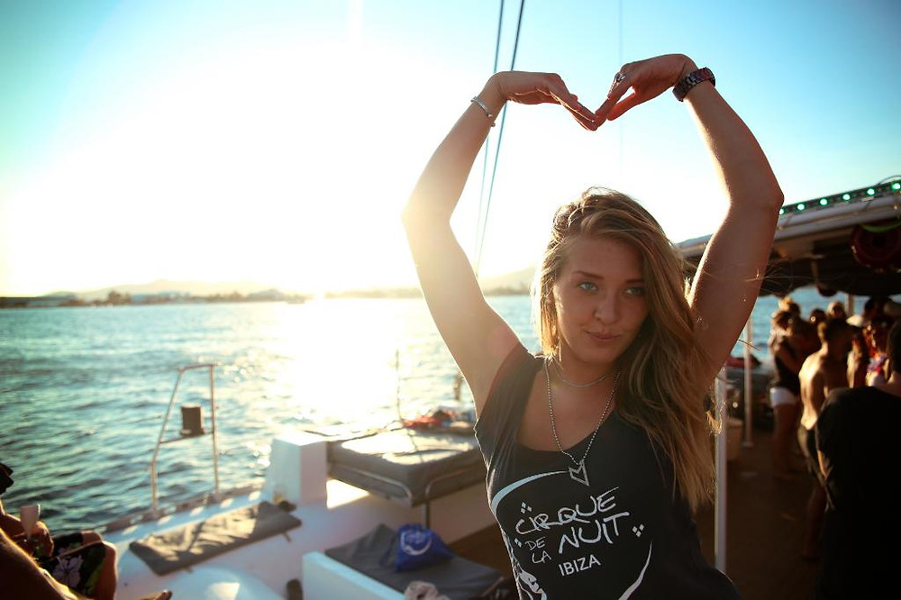 Cirque de la Nuit Ibiza girl making heart