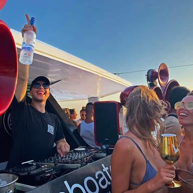 DJ and girl with vodka at Cirque de la Nuit Ibiza