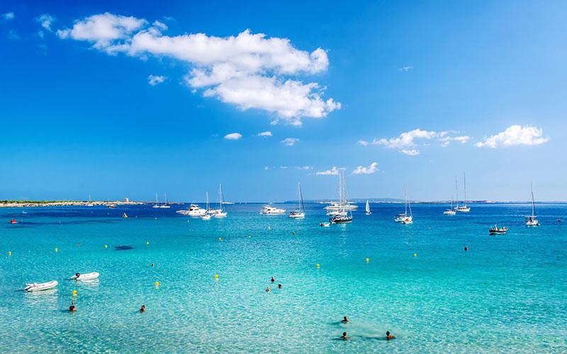 Super yachts at las Salinas Ibiza