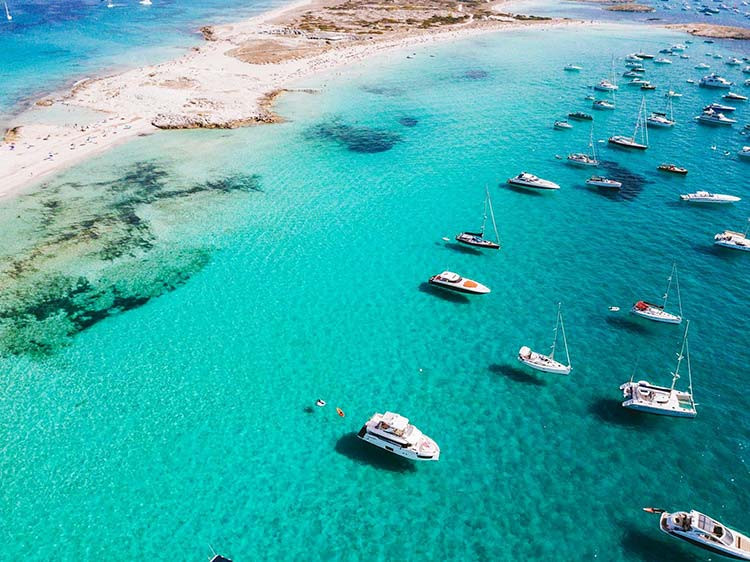Super yachts in Playa Illetes Formentera