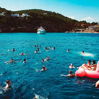 swim stop in formentera with water toys.
