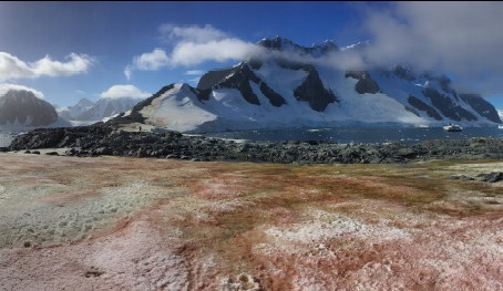 Quais são as cores do gelo na Antártica?