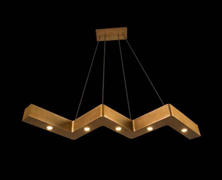 The Custom Z-Type Ceiling Fixture in antique gold.