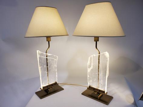 Custom Selenite bedside lamps