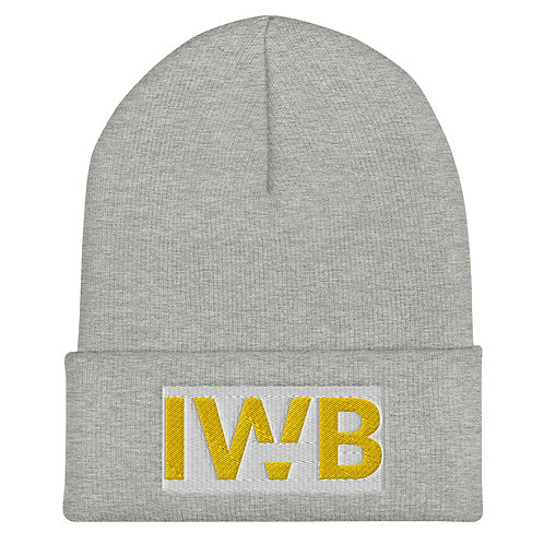 iwannabe White Yellow Bold Cuffed Beanie 4j