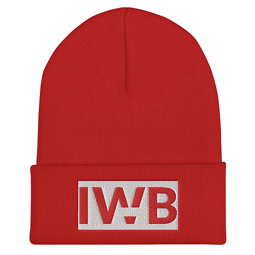 iwannabe White Red Bold Cuffed Beanie 4j