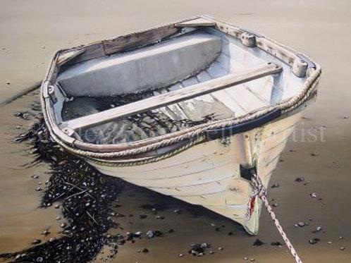 Old dinghy full of sand