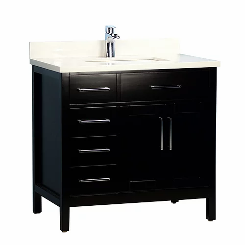 """36"""" Classic Style Espresso Solid Wood Bathroom Vanity with Stone Top"""