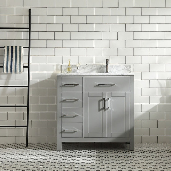 "36"" MELLA - Grey - Single Sink Vanity with Marble Countertop"