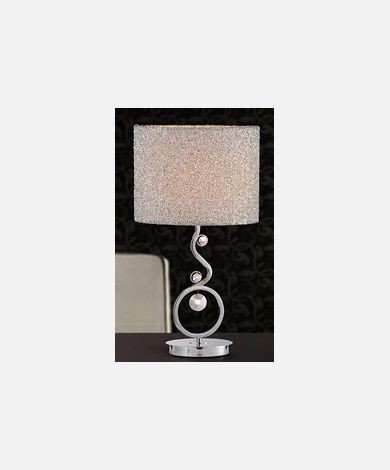 "Large 22"" Chrome Table Lamp w/ Silver Shade"