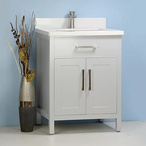"""30"""" Classic Style Grey Solid Wood  Vanity with Stone Top"""