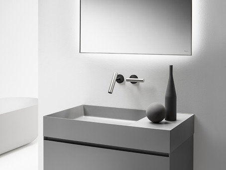 New Vanity Line: MODE The Quattro Zero 7 is a modern, wall-mounted Matt Gray bathroom vanity