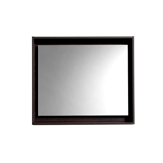 "30"" Wide Mirror w/ Shelf - High Gloss Gray Oak"