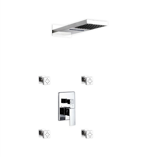 Aqua Duo: Square Rain Shower Waterfall & 4 Body Jets