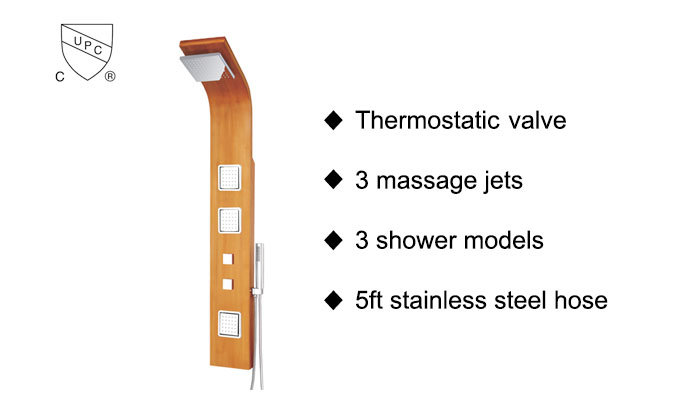 Natural Bamboo Wood Shower Panel System