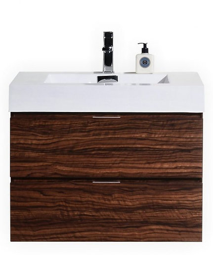 "Bliss 30"" Walnut Wall Mount Vanity"