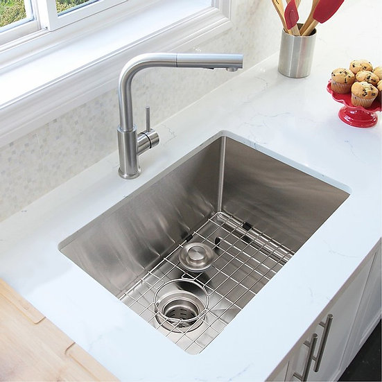 30 in Single Bowl Kitchen Sink, 16 Gauge Stainless Steel with Grid and Basket St