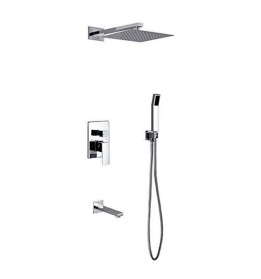 "Aqua Piazza: 12"" Square Rain Shower, Handheld and Tub Filler"