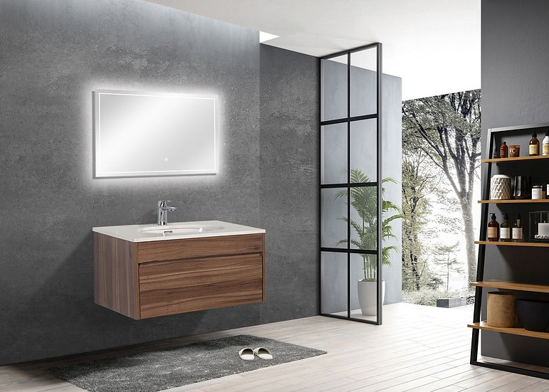 "30"" LAMINA - Walnut- Single Sink Wall-Hung Vanity with Quartz Countertop"