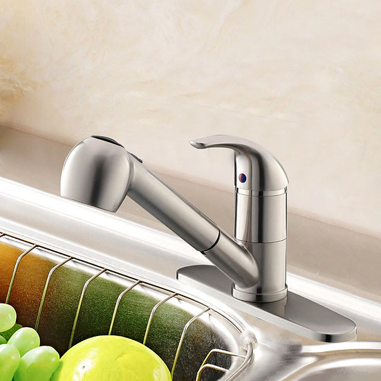 Chrome Finished Brass Kitchen Faucet - Pull Out Spray Head, KF8040135561