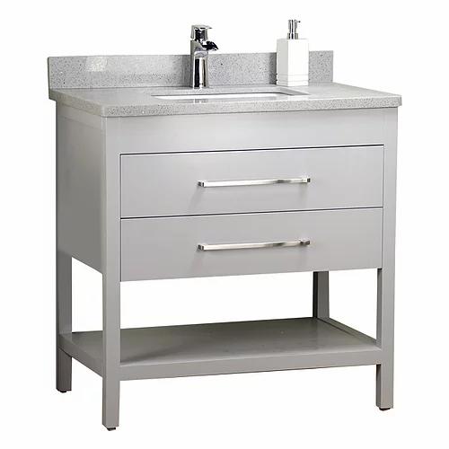 "32"" Shelf Grey Solid Wood Bathroom Vanity with Stone Top"
