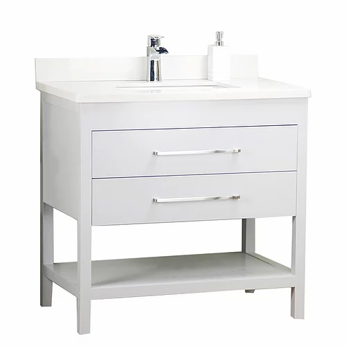 "32"" Shelf White Solid Wood Bathroom Vanity with Stone Top"