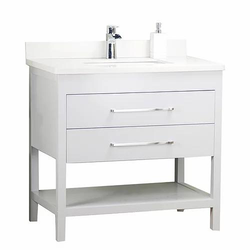 "36"" Shelf White Solid Wood Bathroom Vanity with Stone Top"