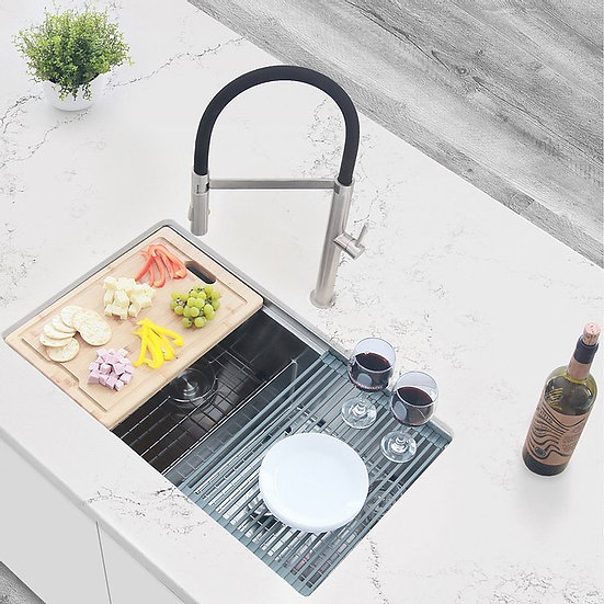32 in Stainless Steel Double Basin Undermount Workstation Kitchen Sink with Acce