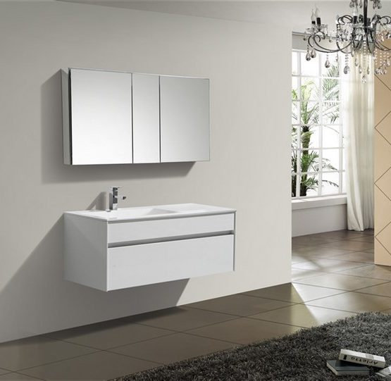 Tona Fitto 48″ High Gloss White Wall Mount Modern Vanity