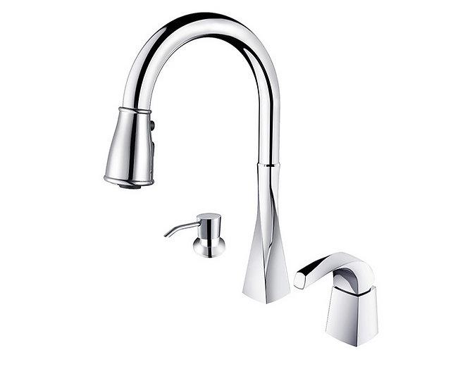 Acqua + Bango, Solid Brass single handle Kitchen Faucet ,Chrome