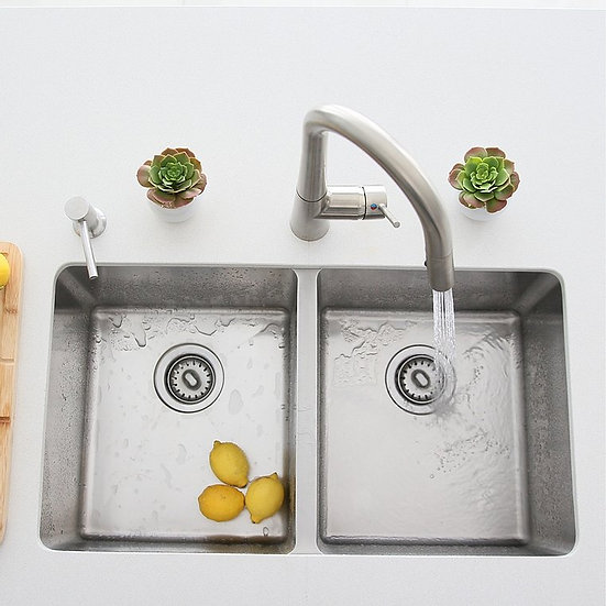 31 in Undermount Double Bowl Kitchen Sink, 18 G Stainless Steel with Standard