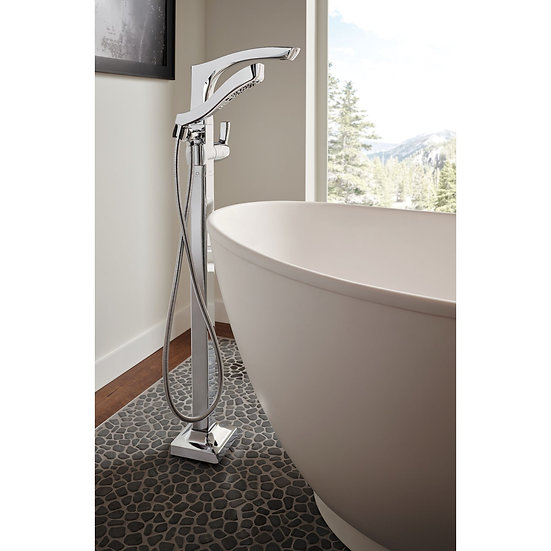 TESLA® Single Handle Floor Mount Tub Filler Trim with Hand Shower