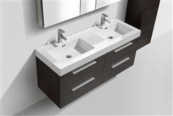 """Tona 54"""" Gray Oak Double Sink Wall Mount Vanity"""