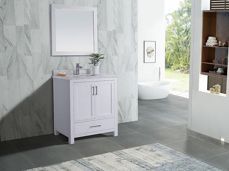 "30"" Carmela White - Carrera Countertop - Single Sink Bathroom Vanity"