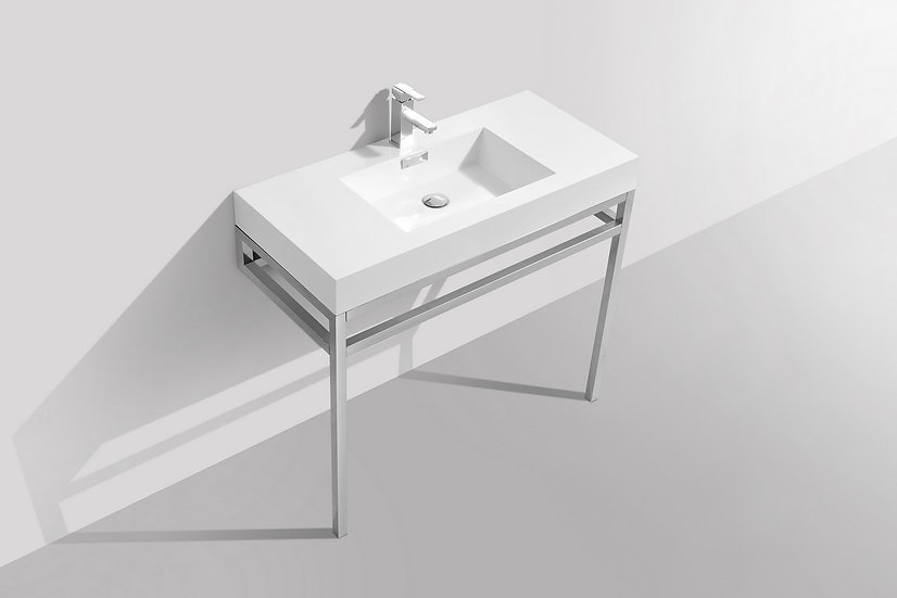 "Haus 36"" Stainless Steel Console w/ White Acrylic Sink - Chrome, LBVKHAUS36"